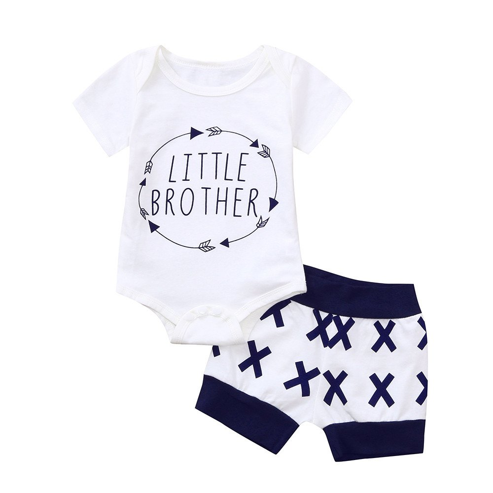 Shorts 2Pcs//Set Fineser Infant Kids Baby Boys Summer Outfits Set Letter Romper Jumsuit