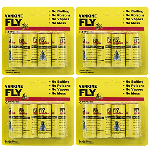 VANKINE Fly Paper Strips,Fly Trap, Fly Catcher Trap, Fly Ribbon, Fly Bait,Fly Catcher Ribbon - 16 Pack (Outdoor Paper)