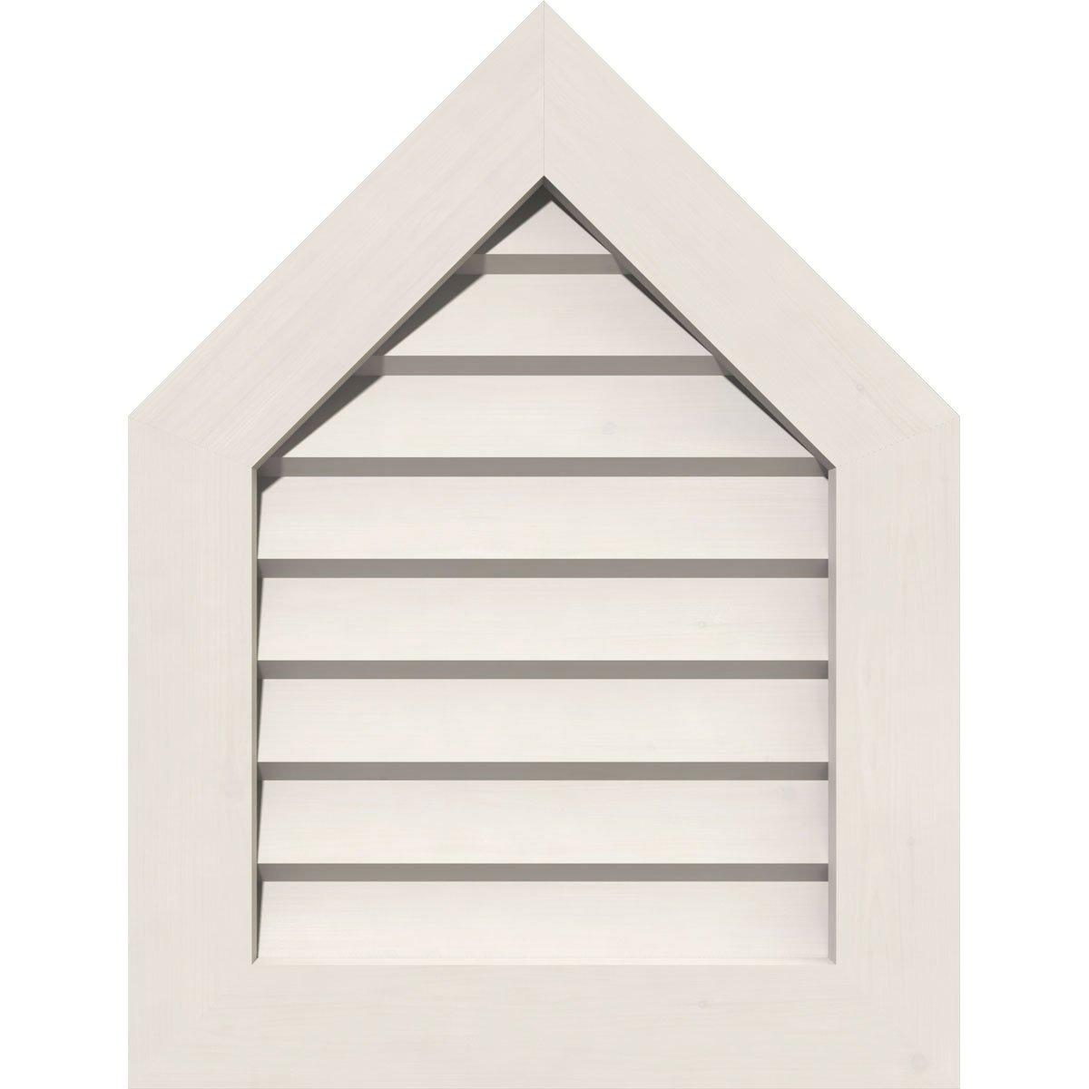 Ekena Millwork GVPPE18X3201DUN-12 12/12 Pitch Pvc Gable Vent with 23'' x 37'' Frame, 18'' x 32'', White