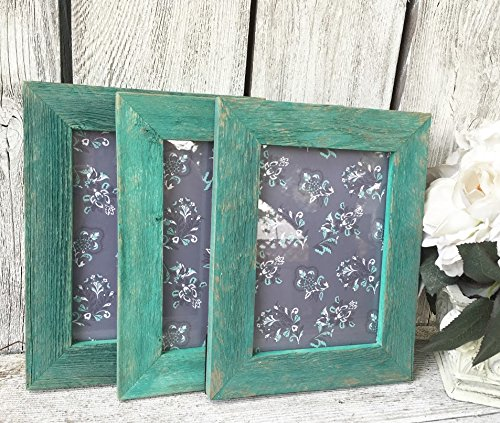Amazoncom Teal Green Barnwood Frame Collection Natural Reclaimed
