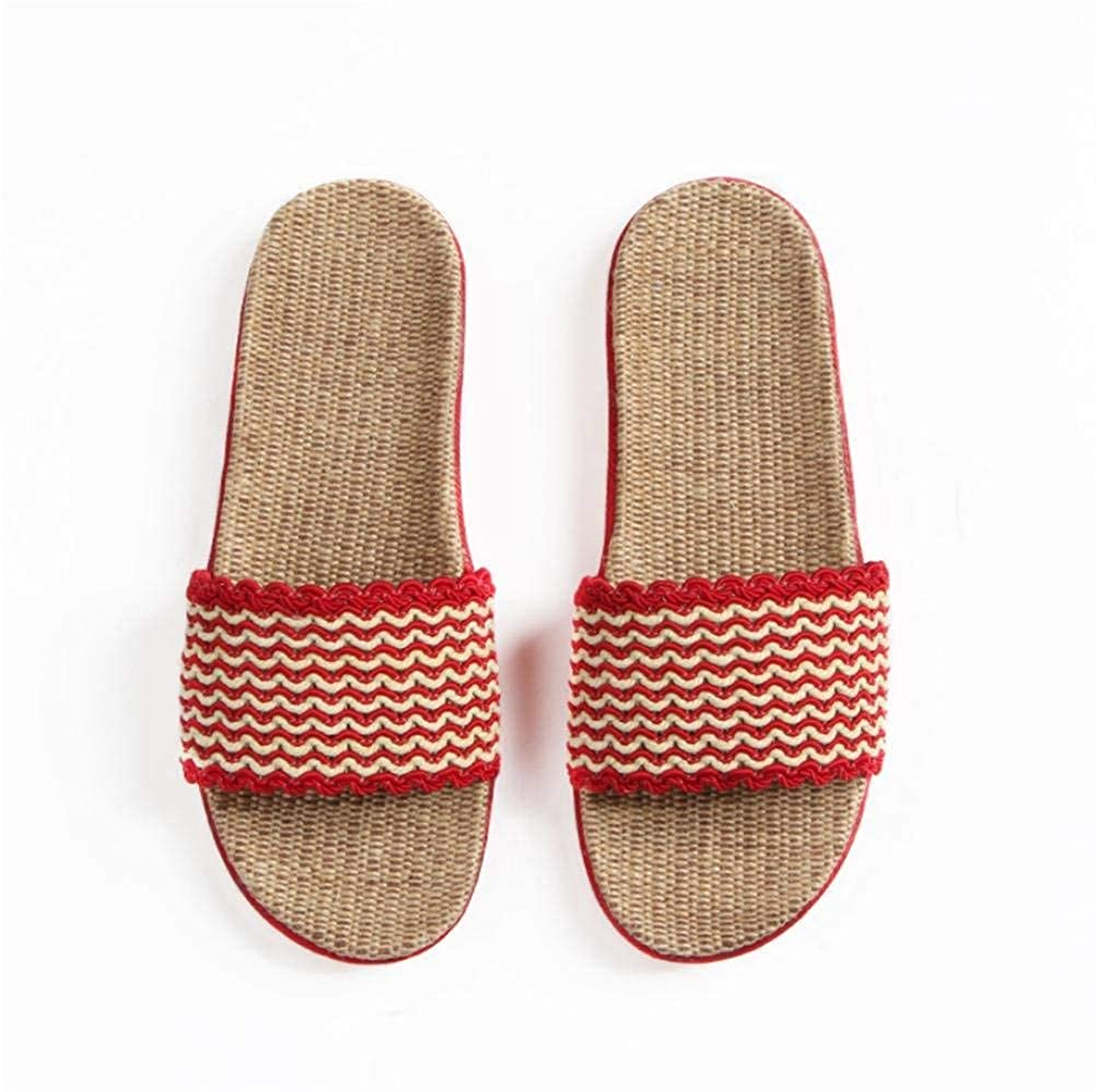 Red GouuoHi Womens Slippers Ladies Fashion Home shoes Interior Leisure Skid Linen Slipper Outdoor Casual shoes Red Small Large Medium