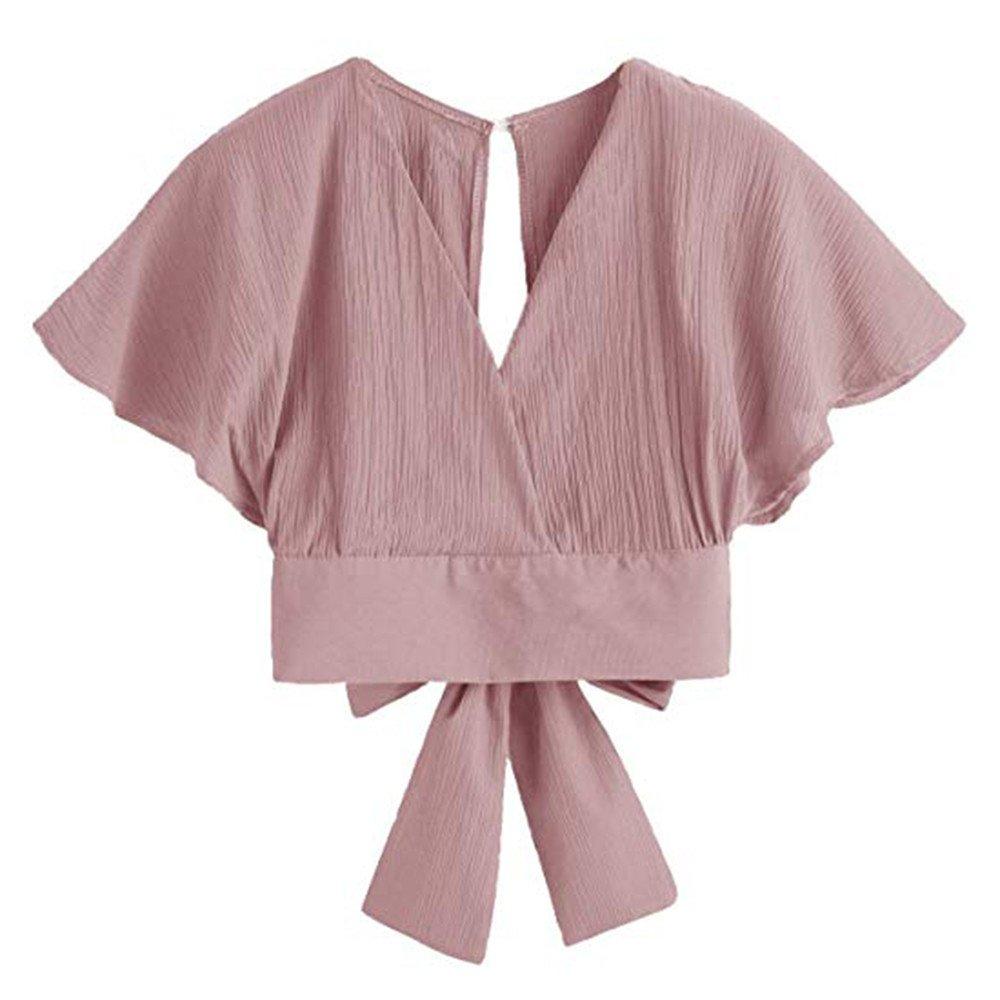 Women Casual Tops Sexy Backless Short Sleeve Blouse V-Neck T-Shirt Shirt Vest Teen Girls Crop Tops Pink