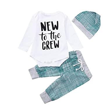 18c236975 Amazon.com  Clearance SRYSHKR Newborn Baby Boys Girls Striped Letter ...