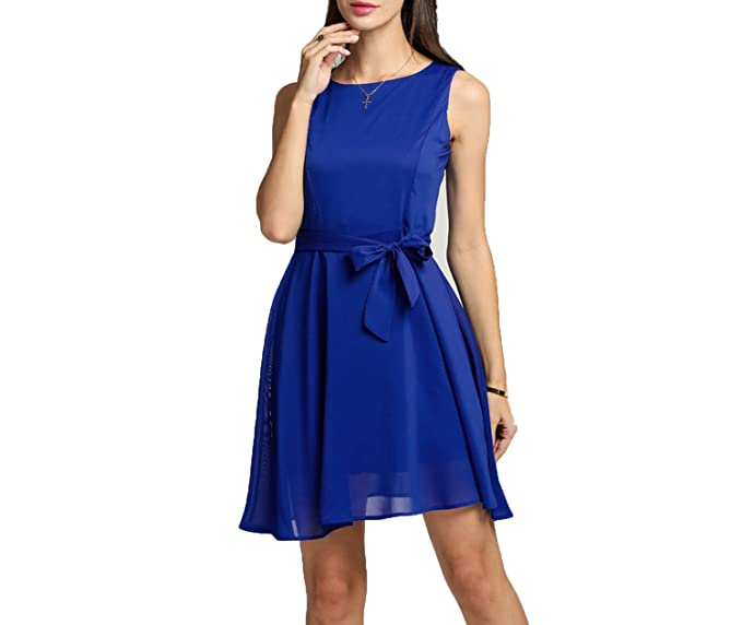 Women Chiffon 13 Solid Colors Summer Vestidos Famale Elegant Pleated Dress Sleeveless Mini Dress at Amazon Womens Clothing store: