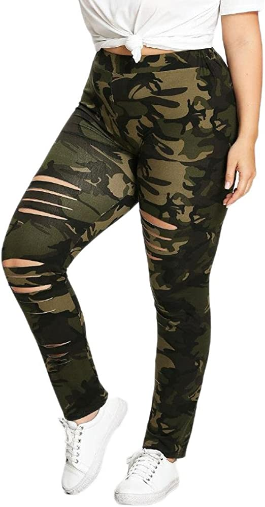 competitive price excellent quality get new GoodLock Women Camouflage Leggings Fashion Plus Size Trousers ...