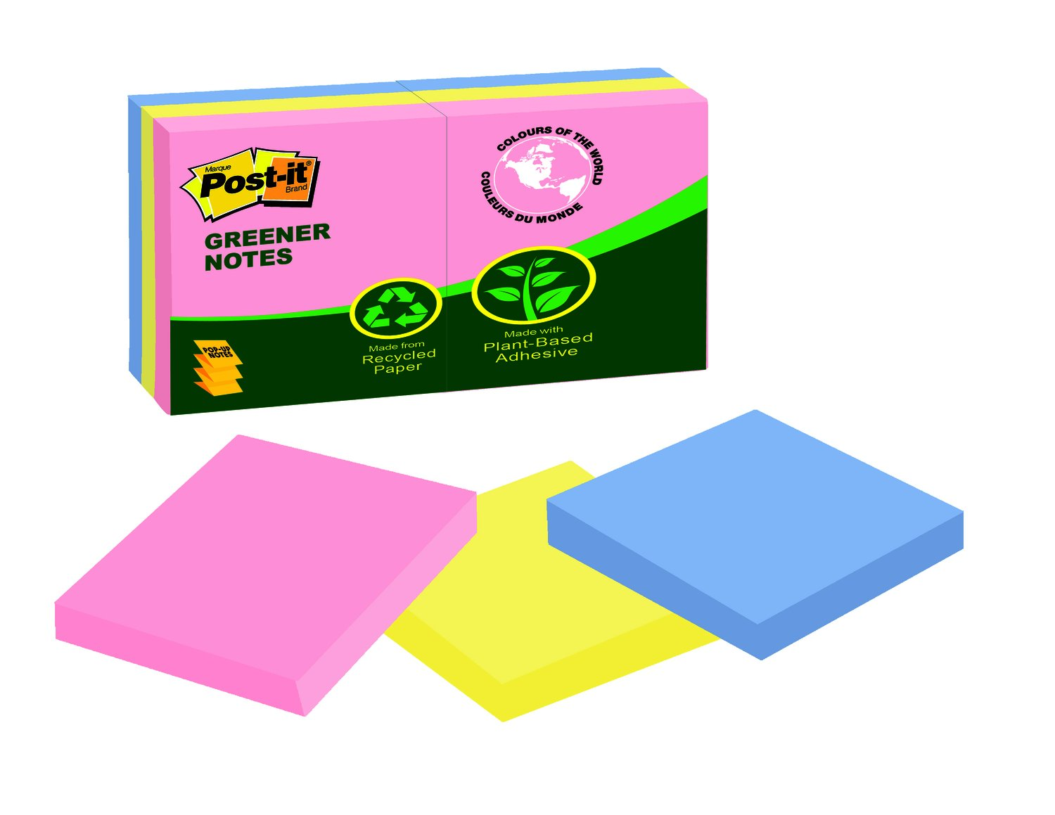Post-it® Greener Notes, 3-Inch x 3-Inch, Helsinki Collection, 75 sheets per pad, 24 pads per pack, (654R-24CP-AP-C) Post-it® Greener Notes