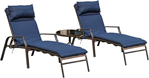 Top Space Patio Lounge Chair Outdoor Chaise Chairs Portable Adjustable Metal Leisure Recliner