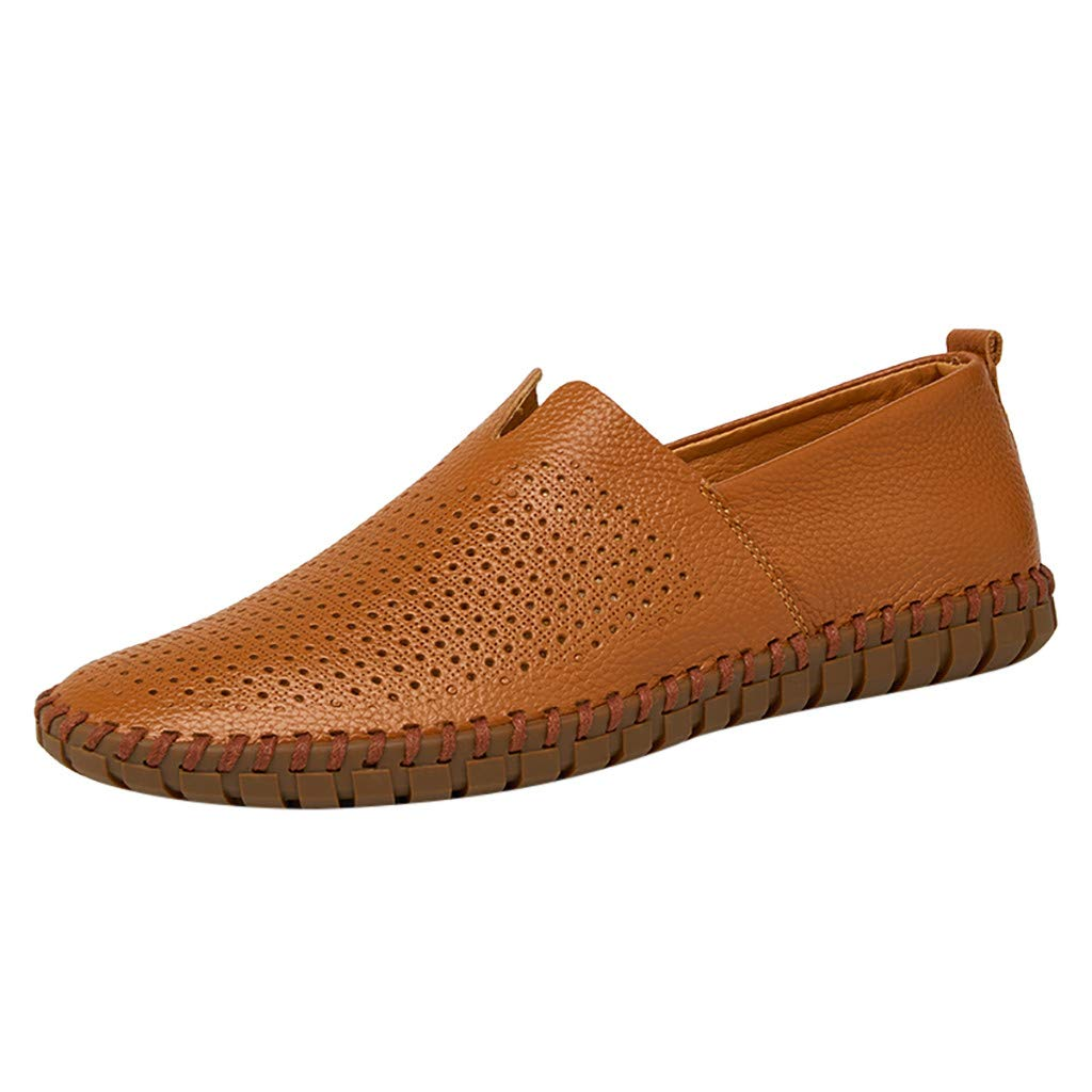 Respctful ♫♫Men's Fashion Loafer Lightweight Slip On Driving Shoes Leather Casual Soft Penny Loafers Brown