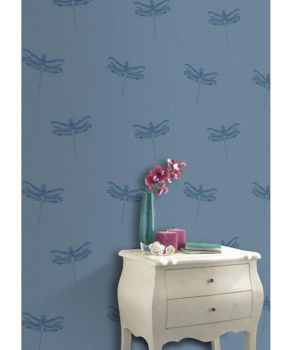 Rasch Solitaire Wallpaper 309010 Feature Textured Metallic Glitter Dragonflies