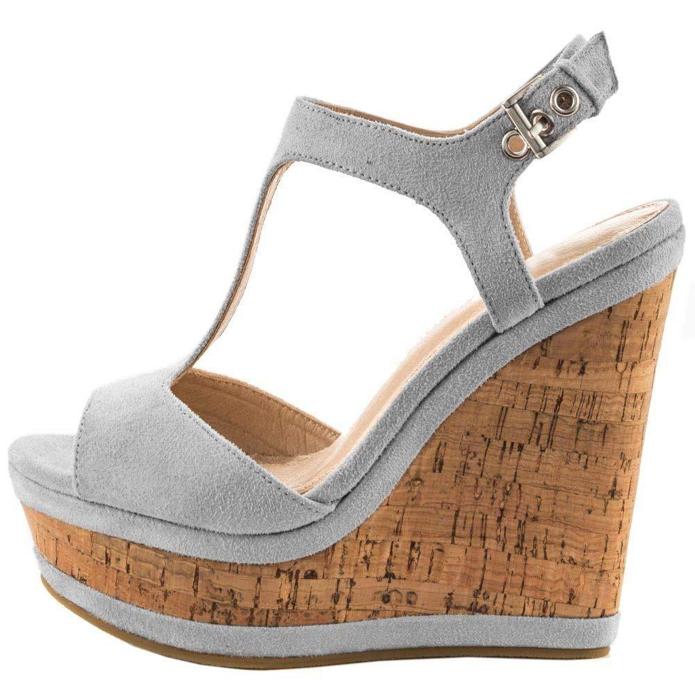 Grey Heels Addict's Women's shoes Open Toe Suede T-Strap Suede Wedge Heeled Platform Sandals