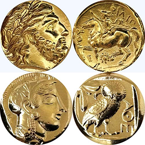 Zeus, King of The Gods and Athena and Owl, Goddess of Wisdom, Greek Coins, Collectible Coin Sets, 2 Coins (4+12-G)