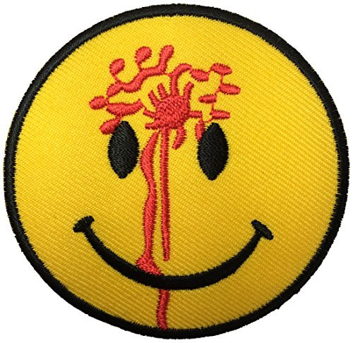 [Funny Smiley Smile Happy Yellow Face Blood Head Shot Logo Badge DIY Applique Embroidered Sew Iron on Patch by Ranger] (Diy Aviator Costume)