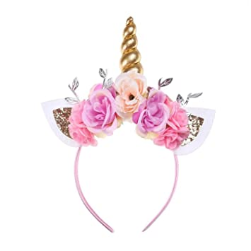 Amazon.com   Kids Girls Unicorn Headband Gold Horn Ears Flower Headband  Glitter Horn Headband Flowers Headwear Accessory for Christmas Party  Cosplay Costume ... 1c0d4262ec59