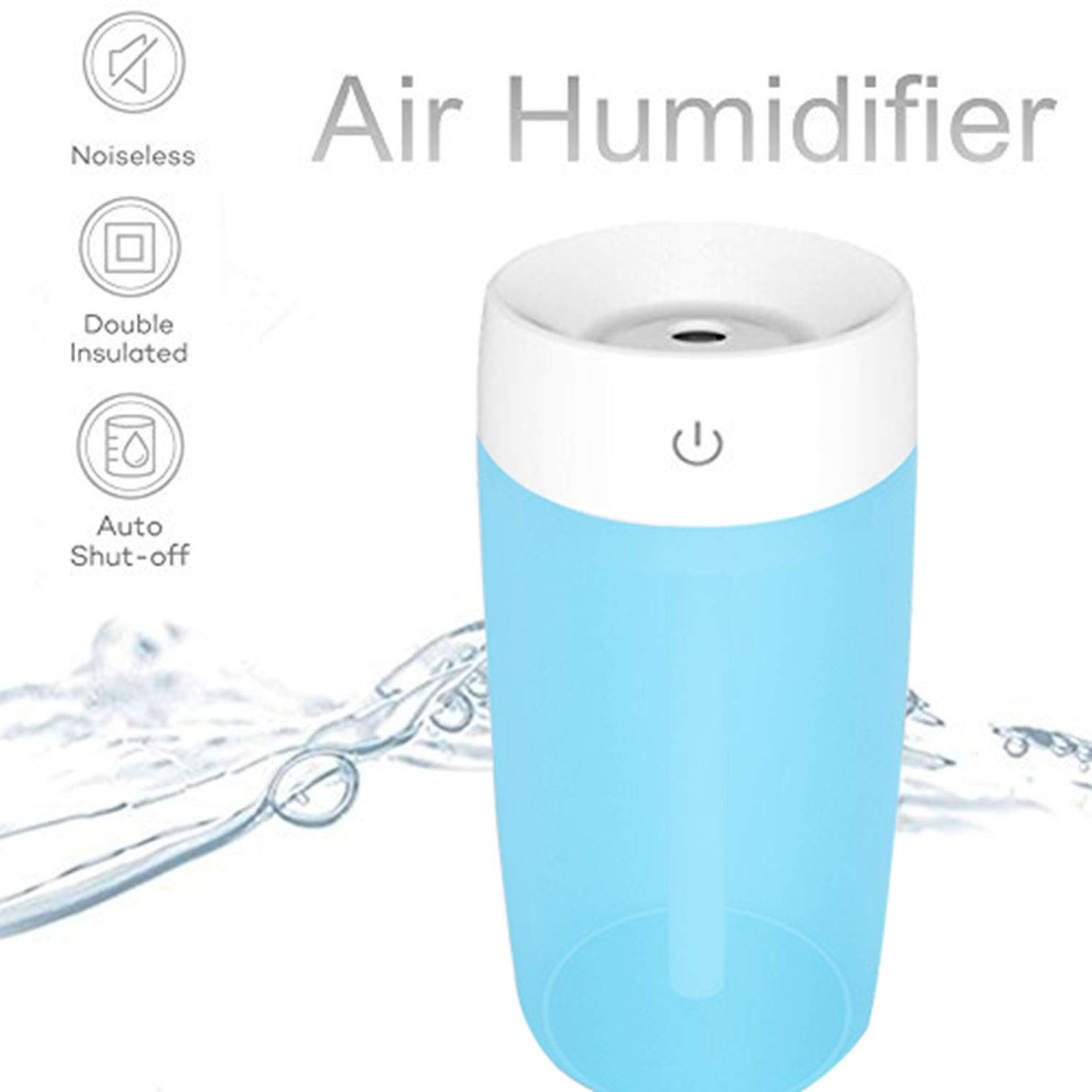 SIXONE Ultrasonic Cool Mist Humidifier 300ml Travel Mini Humidifier USB Powered Personal Portable Humidifiers Diffuser LED Light Air Humidifier with AUTO Shut-Off for Car Office Bedroom (Blue)