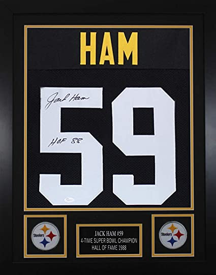 6ead0b39d2c Jack Ham Autographed Black Steelers Jersey - Beautifully Matted and Framed  - Hand Signed By Jack