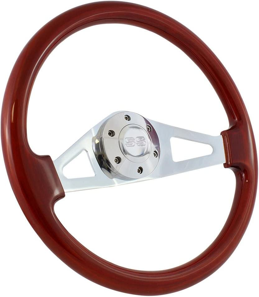 Mahogany 15 Inch 6-Hole Chrome Plated Steering Wheel with Chevy Horn Button