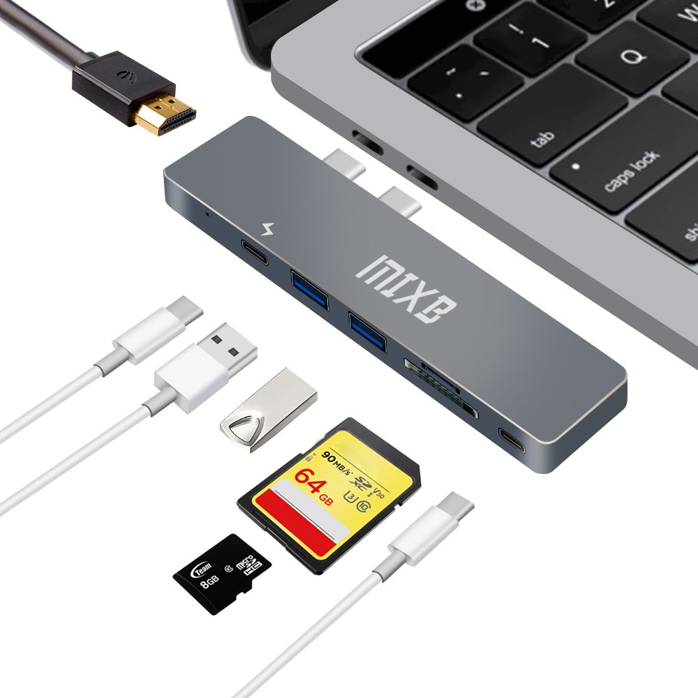 MIXB USB C Hub Type-C Combo Hub 7 Port Adapter Charger with USB3.0 SD/TF 4K HDMI Output For MacBookPro 2017 2016, Superspeed Thunderbolt 3, Power Delivery Charging,New Control Chip,Aluminum Body