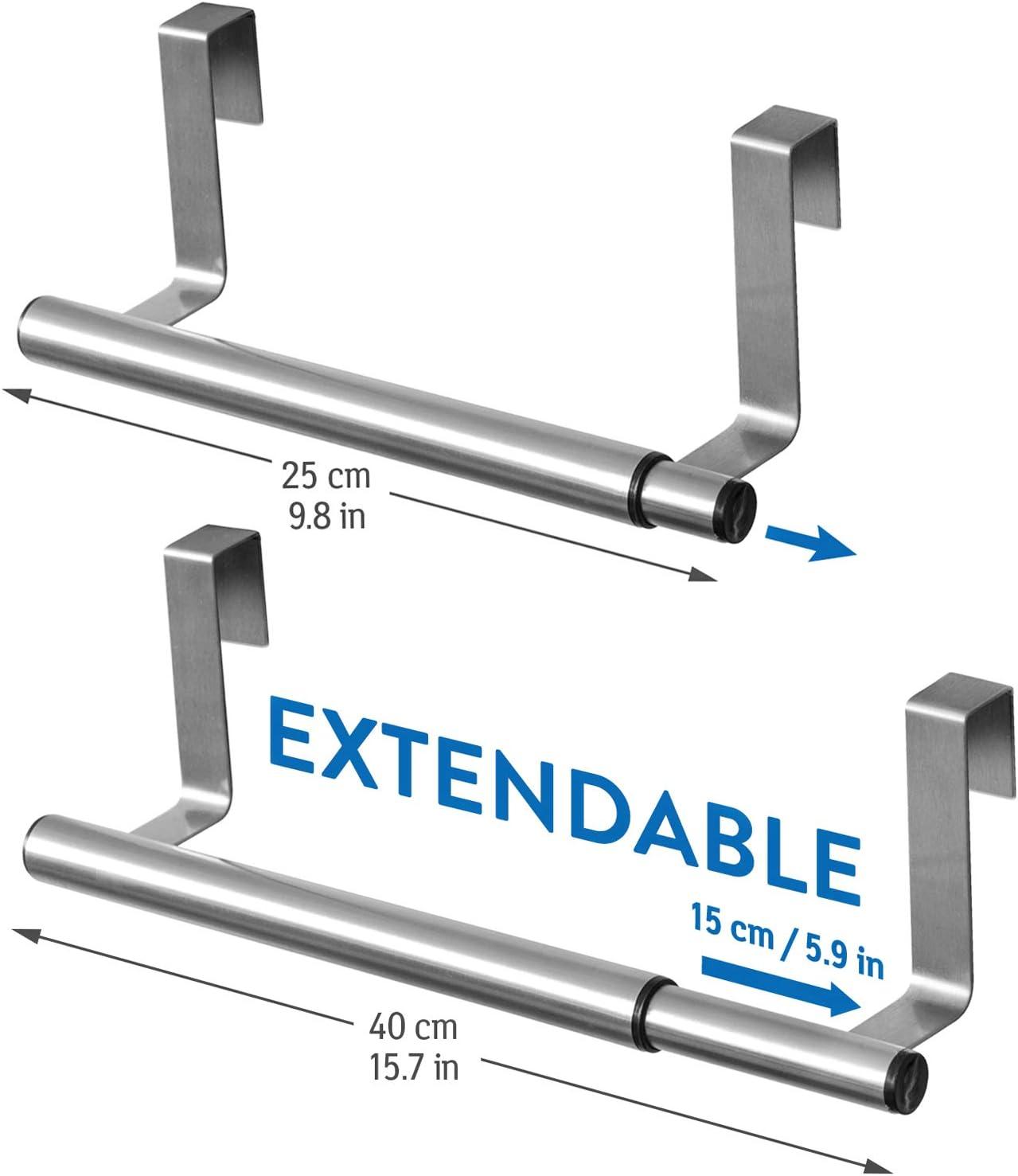 Zum Einh/ängen Tatkraft Spread T/ürhandtuchhalter 25-40 x 8 x 9 cm Geb/ürsteter Edelstahl Solide Handtuchstange Teleskop Ausziehbar
