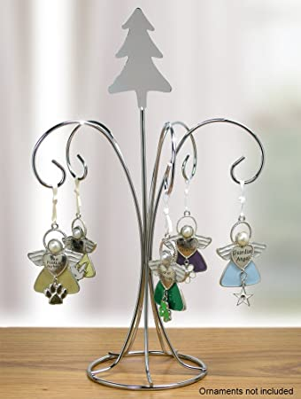 Amazon.com: Chrome Metal Wire Christmas Ornament Tree Stand with ...