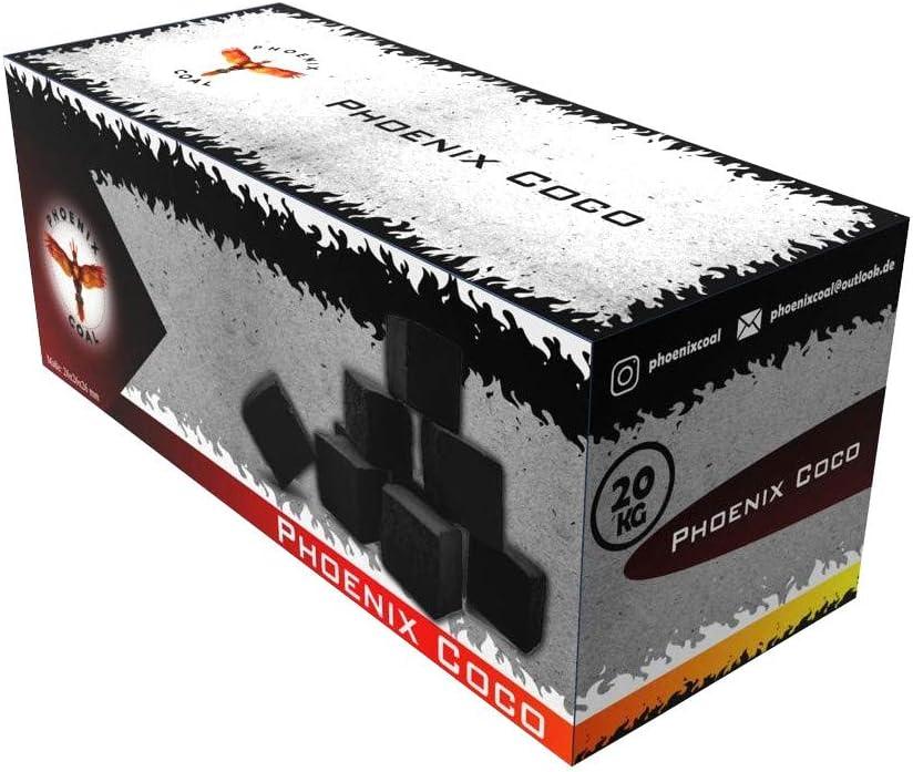 Phoenix Coal Premium - Briquetas de carbón Natural de Coco para cachimba y Parrilla, Sabor Neutro, Inodoro, Larga duración de combustión, bajo Contenido de Cenizas