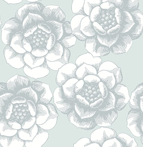 A-Street Prints 2763-24240 Fanciful Floral Wallpaper, Silver (Floral Print Wallpaper)