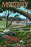 Monterey Peninsula, California - 17 Mile Drive (12x18 Collectible Art Print, Wall Decor Travel Poster)