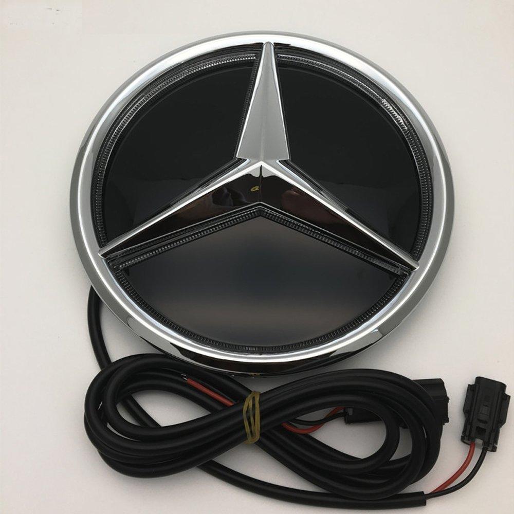 Cszlove Car Front Grilled Star Emblem LED Illuminated Logo for Mercedes Benz 2016-2017 E200L E300L E320L Center Front Badge Lamp Light White - Mirror Surface