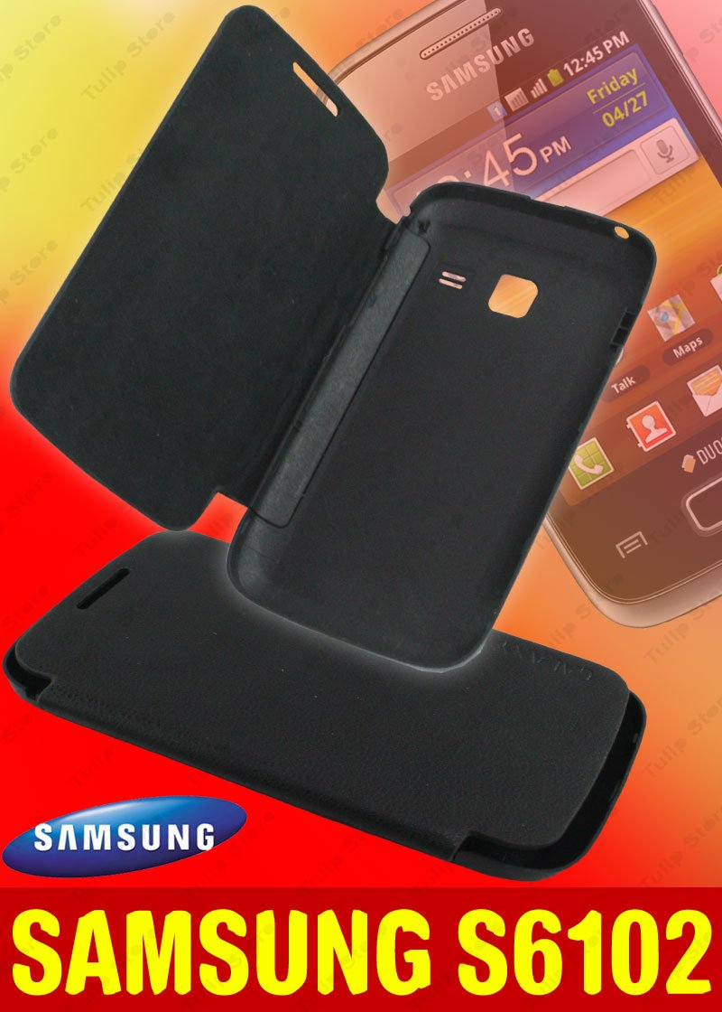 Gallery for gt samsung galaxy s6102 - Leather Flip Case For Samsung Galaxy Y Duos S6102 Black Amazon In Electronics