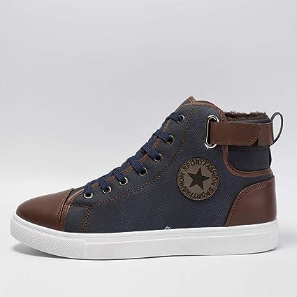 Zapatillas de Hombre, Además de Botines de Terciopelo Zapatos Zapatos de tacón Alto Zapatos de Botas Zapatos High para Ayudar a los Zapatos de Hombre a ...