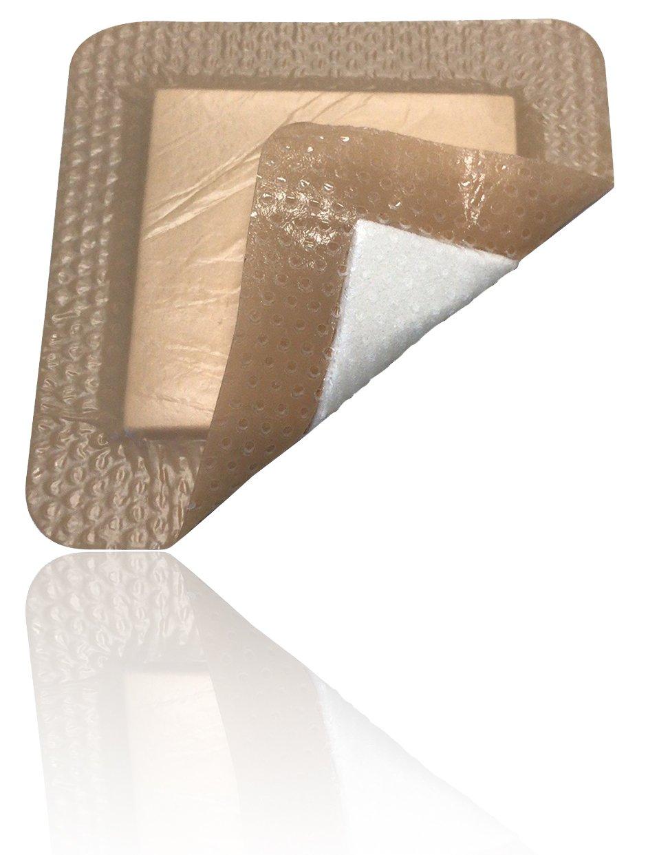 Silicone - Bordered Silicone Foam Dressing 3''x3'' (1.8''x1.8'' pad), box of 5