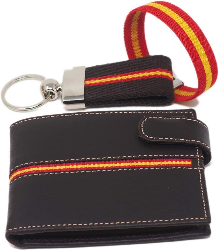 Cartera Billetera de Piel + Llavero + Pulsera | Hombre | Colores de la Bandera de España (Color 1): Amazon.es: Equipaje