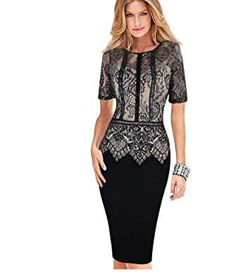 W Womens Elegant Dress Special Occasion Vestidos Lace Casual Party Sheath