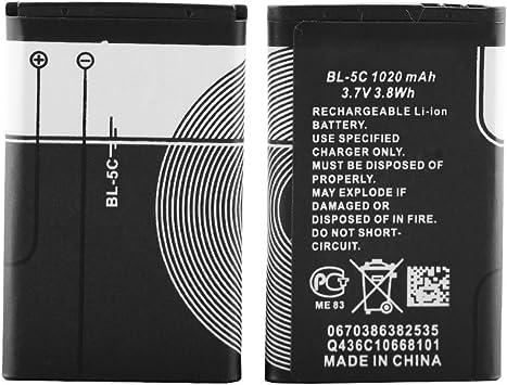 Batería Recargable BL-5C 1020Mah con protección de Corriente 2 Piezas (5C-2pc)