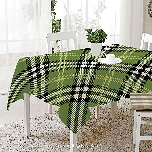 AmaUncle Premium Waterproof Table Cover Classical Celtic Pattern Symmetrical Stripes and Squares Print Decorative Kitchen Rectangular Table Cover (W60 xL104) ()