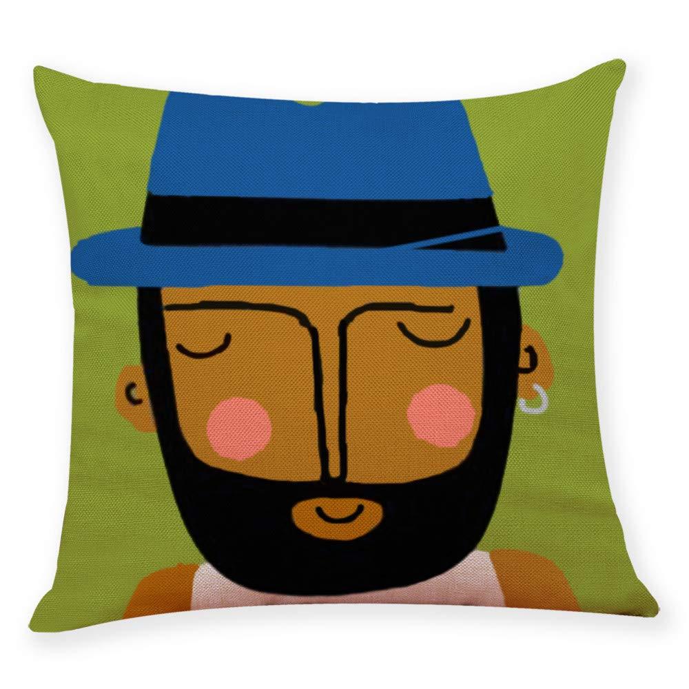Pgojuni Figure Printing Pillow Cases Linen Cotton Sofa Cushion Cover Home Decor Sofa/Couch 1pc 45X45 cm (E)
