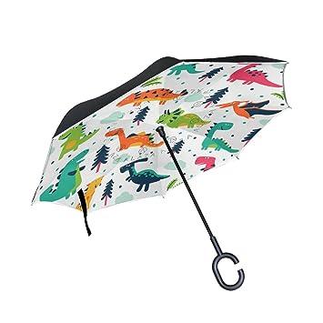 jstel doble capa paraguas de dibujos de Dortmund, diseño de dinosaurios coches Reverse resistente al