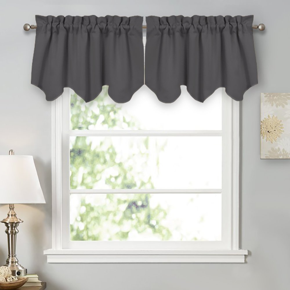 Valances Window Treatments PONY DANCE Kitchen Scalloped Valances - Window Treatments Short Curtains  Tiers Rod Pocket Top Curtain Valances Light Block for Kitchen u0026 Bedroom, ...