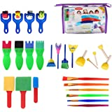Dainerisy 26pcs Kids Painting Set Early Learning Mini Flower Sponge Drawing Brushes Seals Rollers PVC Tote