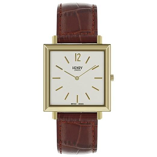 Henry London Reloj Analógico para Mujer de Cuarzo con Correa en Cuero 5018479086390: Amazon.es: Relojes