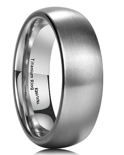 King Will 7MM Titanium Ring Brushed Matte Comfort Fit Wedding Band For Men Women