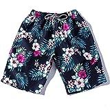 WEUIE Men's Monaco Swim Trunks Quick Dry Beach Shorts Floral Swim Short Pants Plus Size Swimwear Bathing Suits Blue