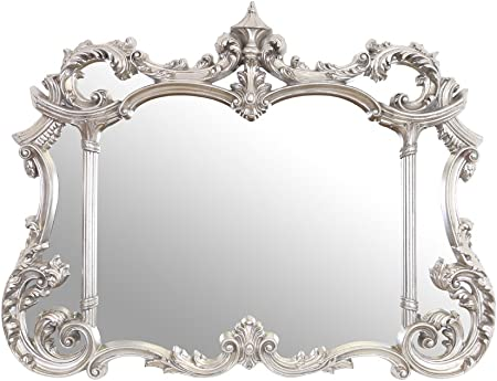 Select Mirrors Philippe Large Ornate Antique Wall Mirror Antique Silver 128 X 99cm Amazon Co Uk Kitchen Home