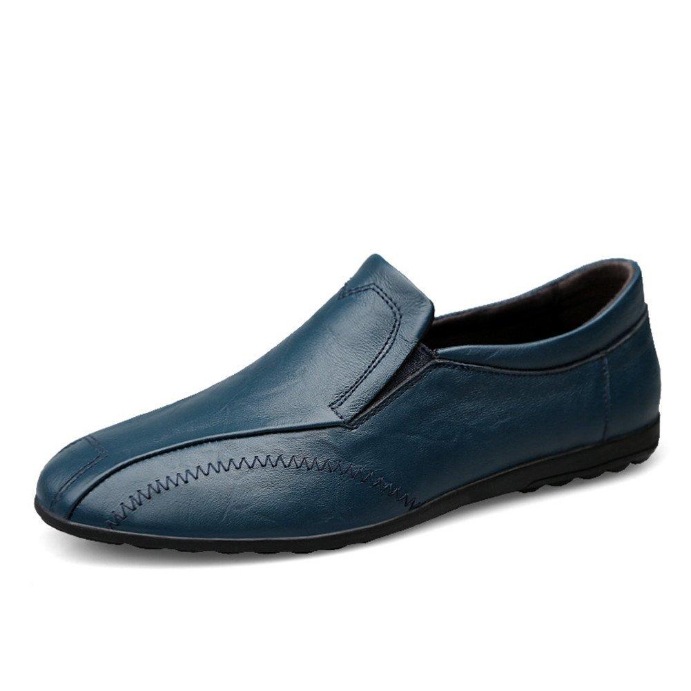 Classic Artesanal Cuero Mocasines Hombre Comodas Ponerse Oficina Trabajo Zapatos 47 EU|Azul