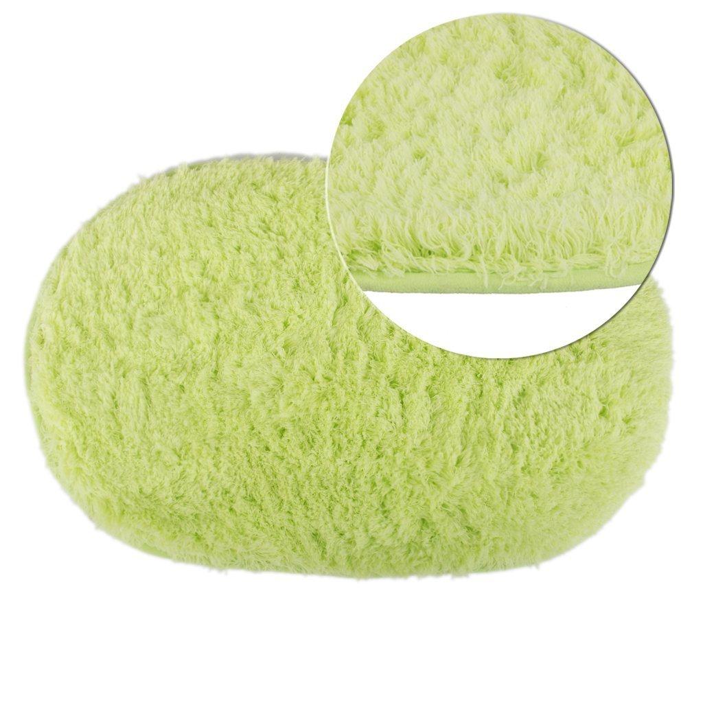 Polymer Absorption Bath Mat Soft Floor Rug Bedroom Cozy Shaggy Rug Oval Living Room Carpet (Green) by Polymer (Image #1)