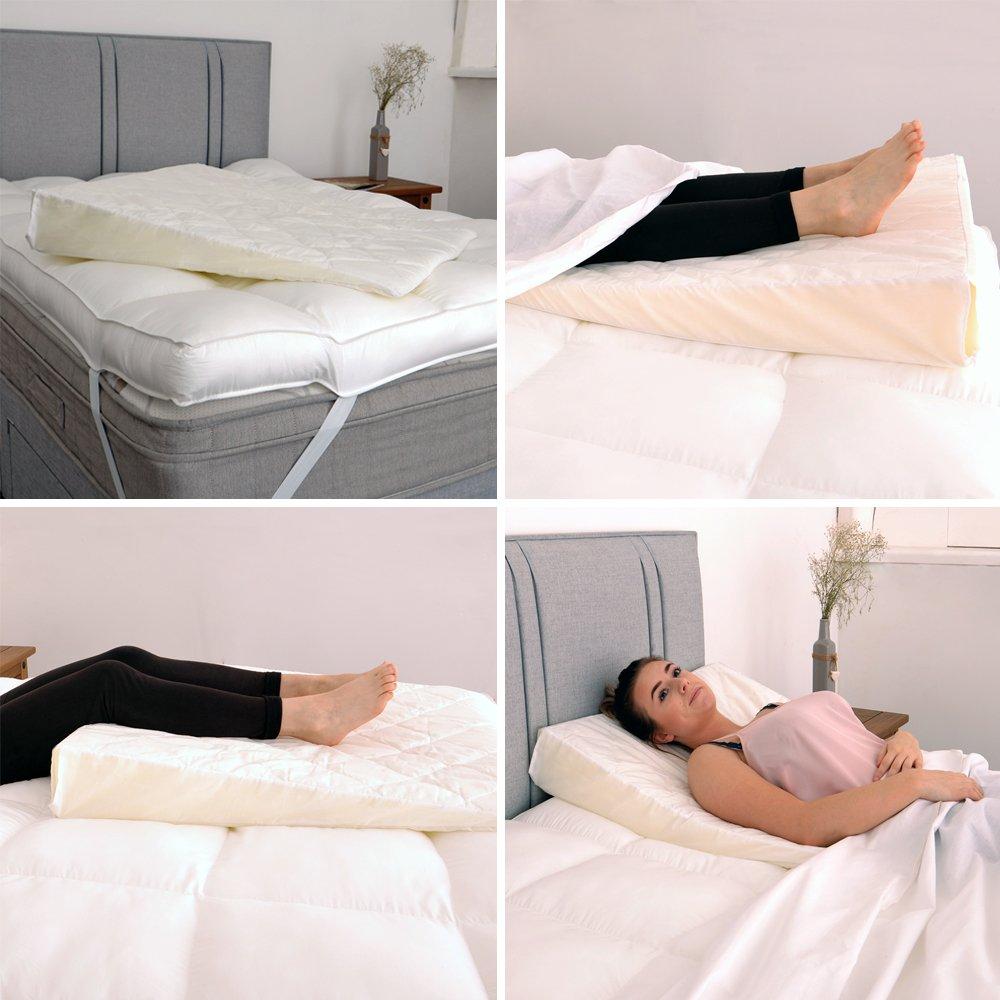 Cuña de cama, soporte de espuma de lujo con funda acolchada, para evitar el reflujo ácido, la acidez y la indigestión, inclinador de colchones: Amazon.es: ...