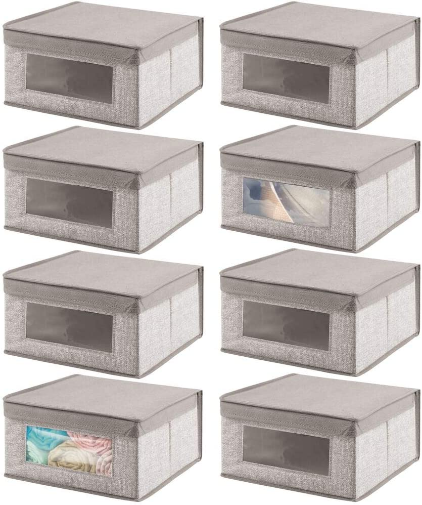 mDesign Soft Stackable Fabric Closet Storage Organizer Holder Bin with Clear Window, Attached Lid - for Home Office, Den, Hallway, Entryway - Textured Print - 8 Pack - Linen