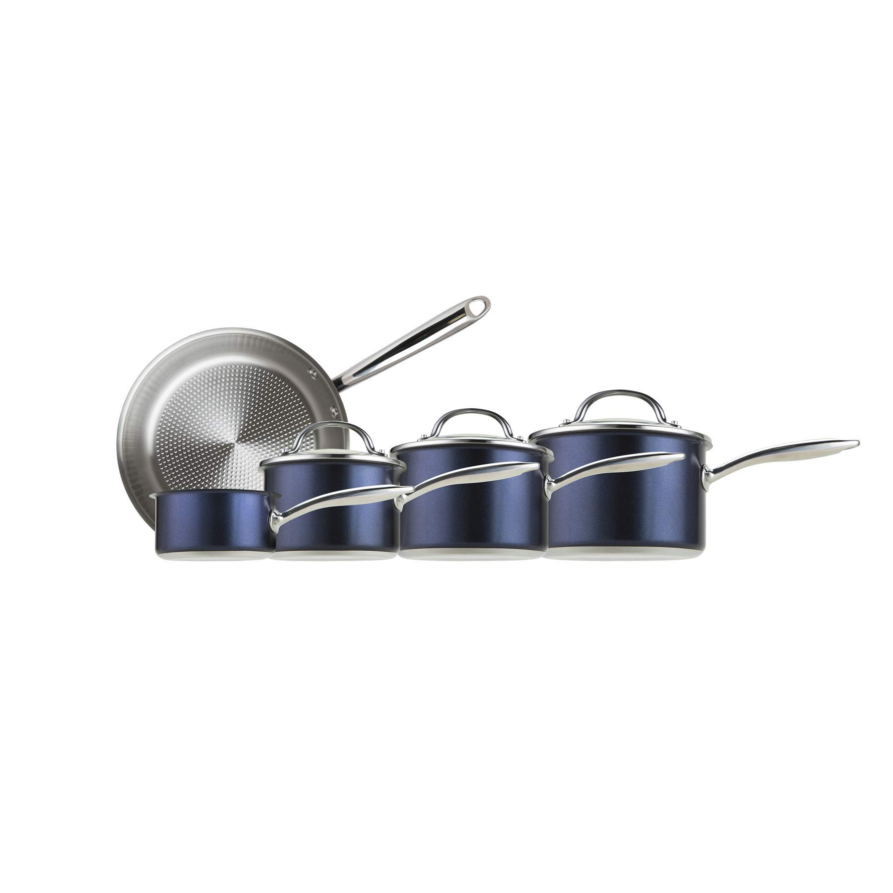 Prestige 76699 Optisteel 5 Piece Aluminium cookware Set-Blue, Stainless steel and glass,