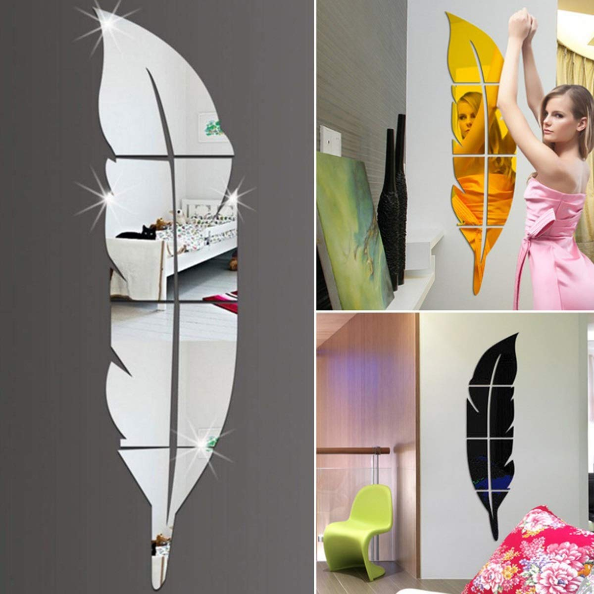 DIY Modern Plume Feather Acrylic Mirror Wall Stickers Room Mural Decoration Color : Silver Right