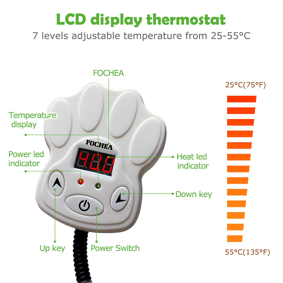Tappetino Riscaldante per Cane e Gatto 7 Livelli di Temperatura Regolabili 25~55/°C di Termostato 2 Coperture Lavabili FOCHEA 15W 40cm Cuscino Termico Elettrico per Animali Domestici