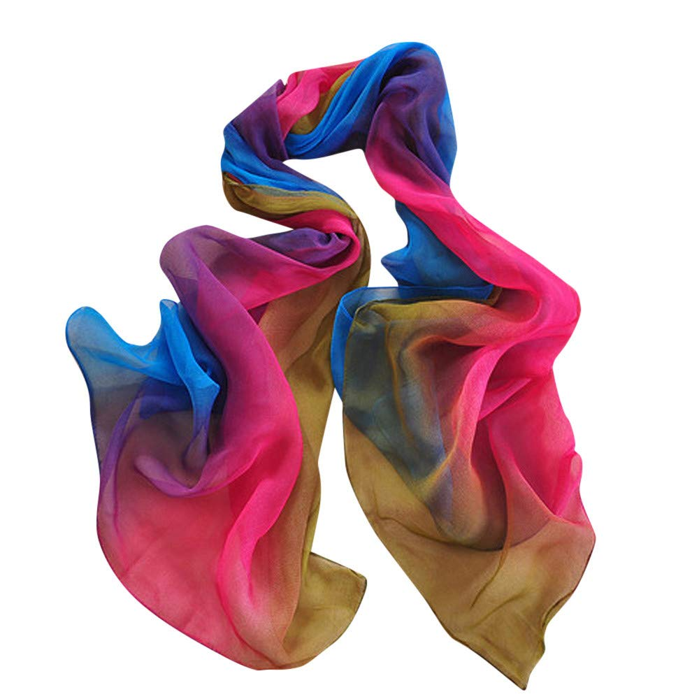 iYBUIA 2018 New Women Gradient Printing Scarf Fashion Female Beach Multi-Purpose Shawl Scarf (One Size, D)